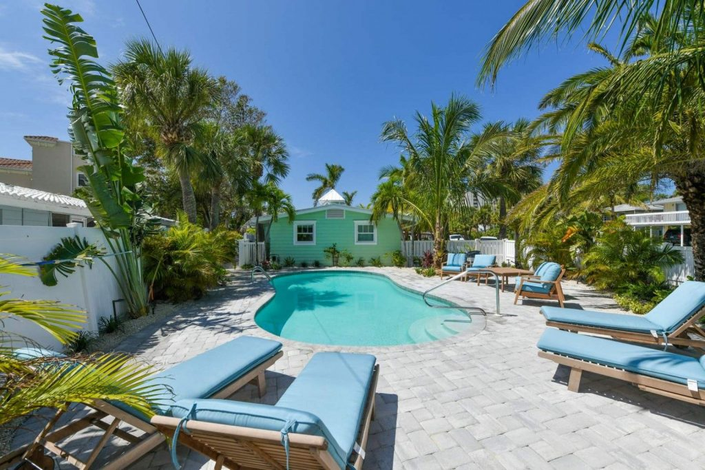 View of the private pool and back patio area that comes with a Siesta Key hotel room