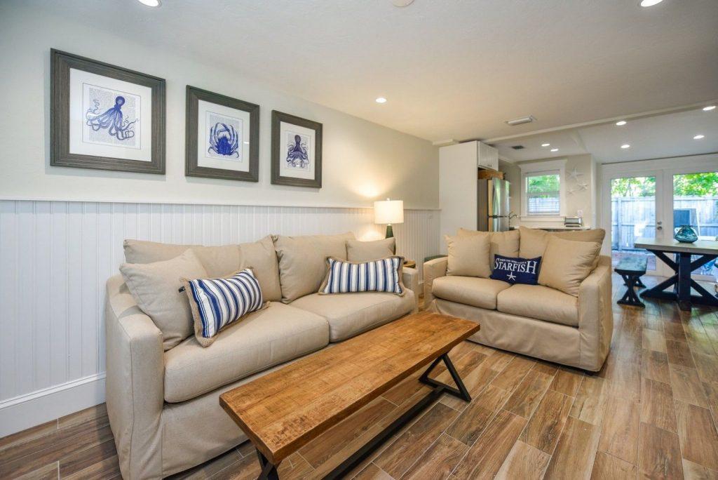 View of living room in Siesta Key hotel vacation rental