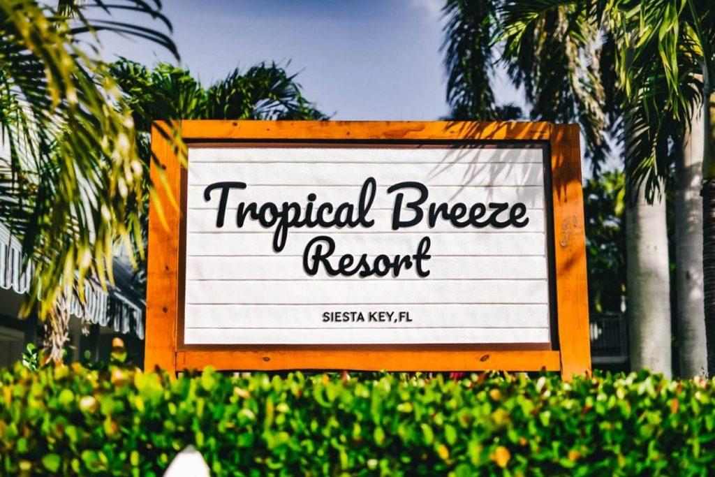 Tropical Breeze Resort Sign